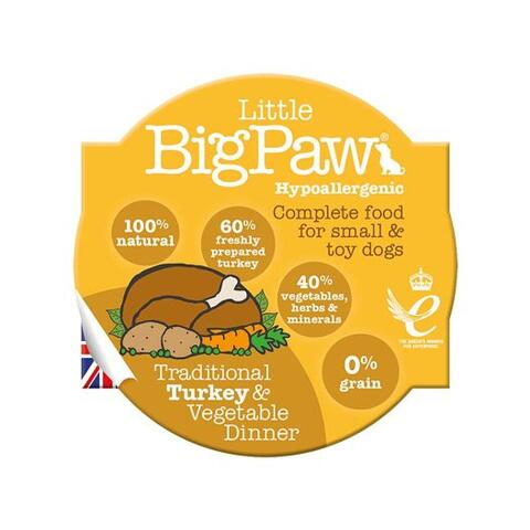 Traditional Turkey & Vegetable Dinner | Little Big Paw 85g